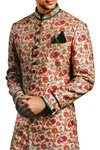 Mens Wedding Sherwani Ivory Printed Indowestern Indian Sherwani