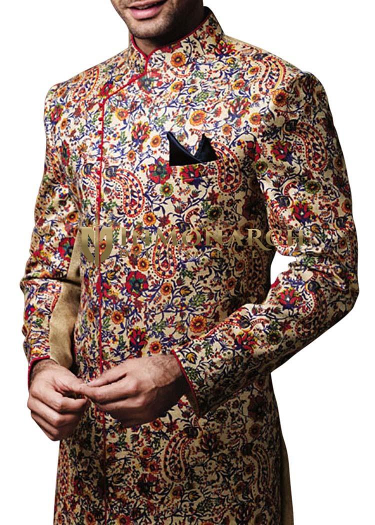 Mens kurta for jeans Ivory Indowestern Sherwani Angrakha Style