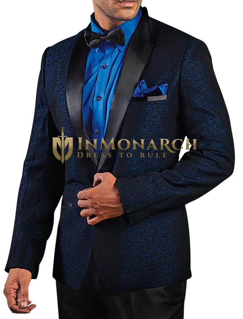 Mens Dark Navy Polyester 5 Pc Tuxedo Suit Shawl Lapel