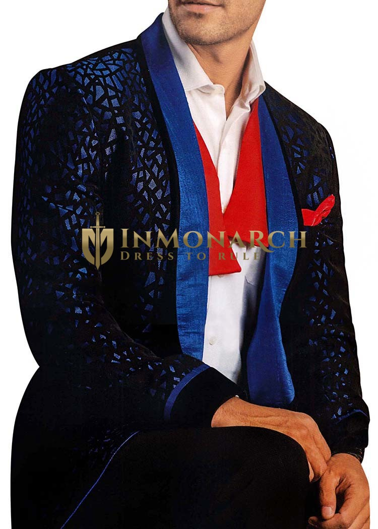 Mens Blue Polyester 5 Pc Tuxedo Suit Black Designs