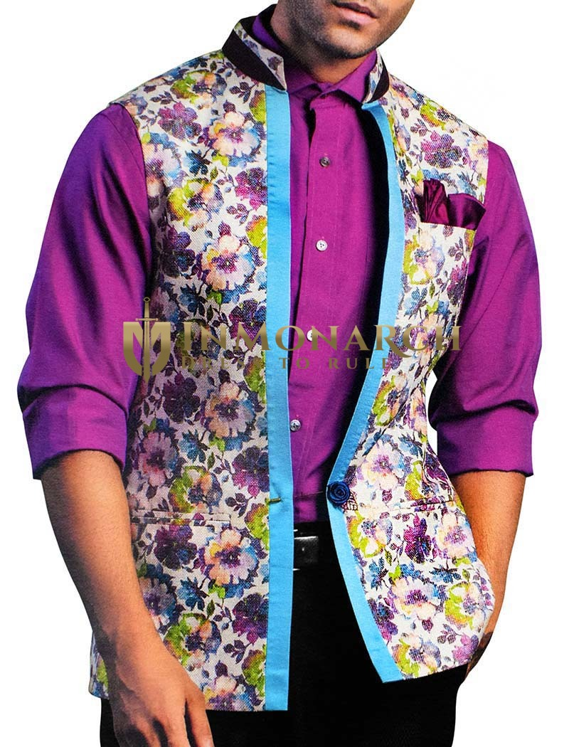 Mens Natural Color Nehru Vest Flower Print Modi Jacket