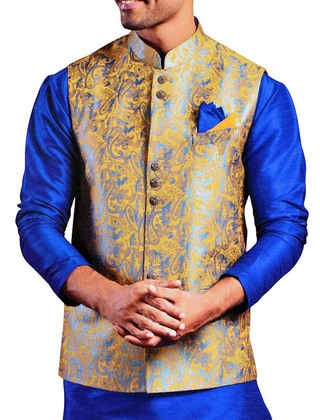 Mens Yellow Jute Silk Nehru Vest Paisley Pattern