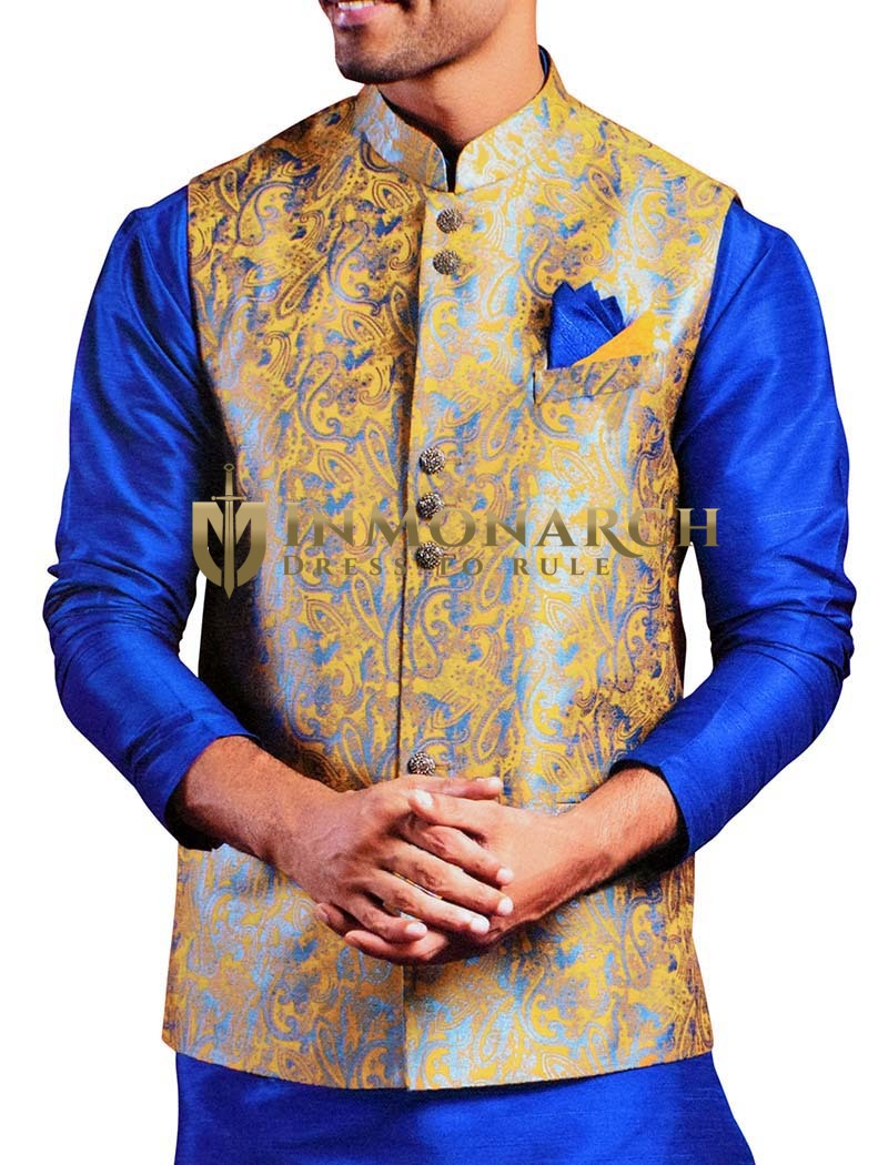Mens Yellow Nehru Waistcoat Paisley Pattern Festive Vest