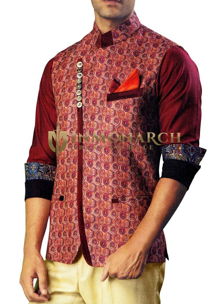 Mens Salmon Indian jacket Jute Silk Nehru Vest Circle Design