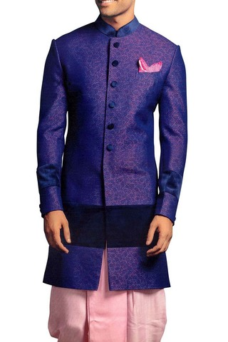 Indian Wedding for Men Royal Blue Sherwani Indowestern Suit