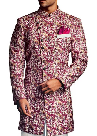 Sherwani for Men Cream Indowestern Angrakha Style Indian Wedding Clothes