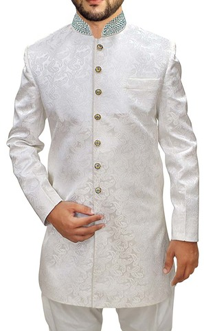 Mens Cream Sherwani kurta Indowestern Paisley Pattern Wedding Sherwani
