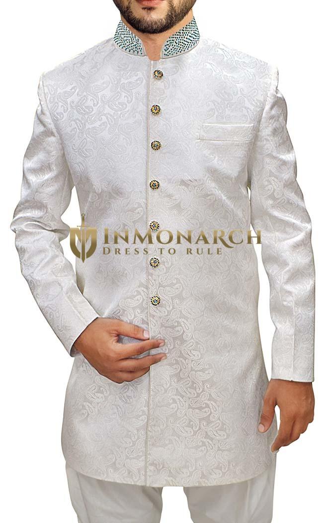 Mens Cream Sherwani kurta Indowestern Paisley Pattern Wedding Sherwani