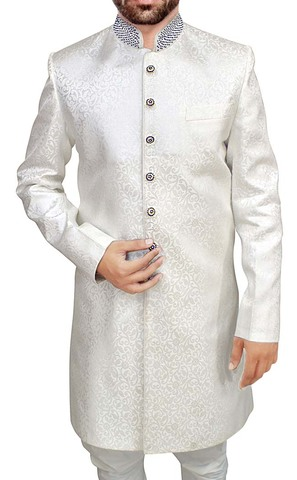 Sherwani for Men White Brocade Indowestern Indian Wedding Clothes