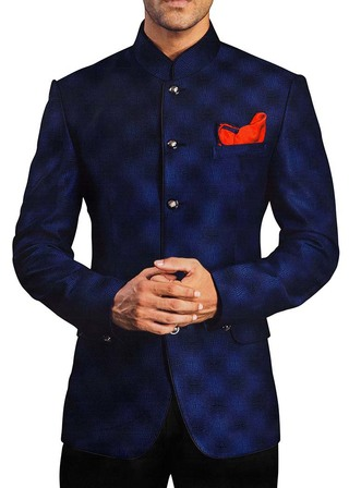 Mens Navy Blue Polyester 3 Pc Jodhpuri Suit Engagement