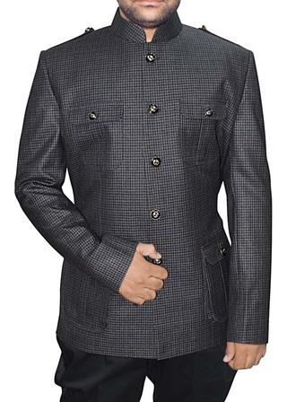 Mens Gray 2 Pc Jodhpuri Suit Safari Style