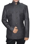 Mens Gray 2 Pc Jodhpuri Suit Safari Style