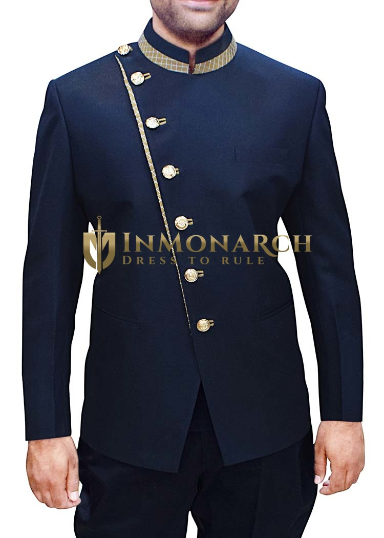 Mens Dark Navy Polyester 2 Pc Jodhpuri Suit Designer