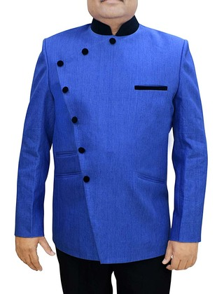 Mens Blue Linen 2 Pc Jodhpuri Suit Angrakha Pattern
