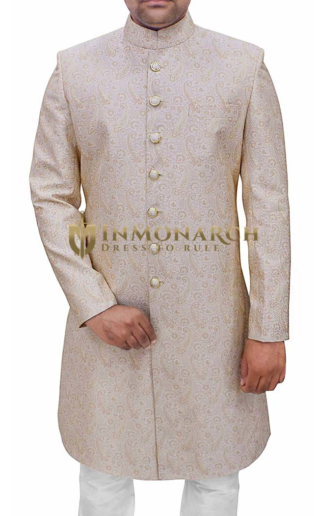 Mens Indian Wedding Men Ivory Sherwani Paisley Pattern