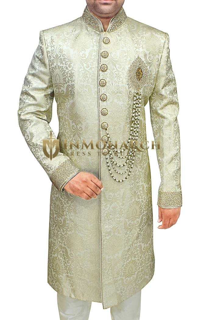 Mens Indo Western Light Golden Sherwani For Men Embroidered