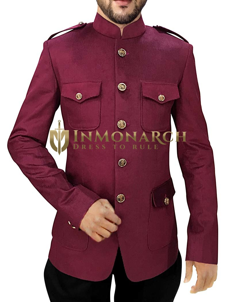 Mens Burgundy Corduroy 2 Pc Jodhpuri Suit Safari