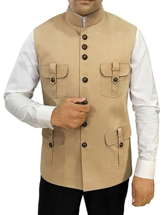 Mens Khakhi Cotton Nehru Vest Safari Style