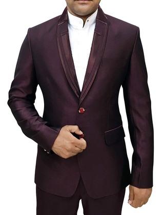 Mens Wine Polyester 3 Pc Tuxedo Suit Designer Lapel