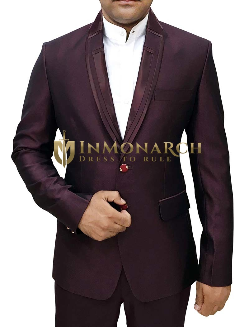 Mens Wine Polyester 3 Pc Tuxedo Suit Designer Lapel