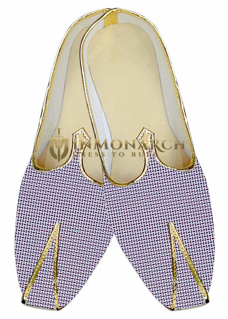 Mens Sherwani Shoes White Wedding Shoes Purple Desh