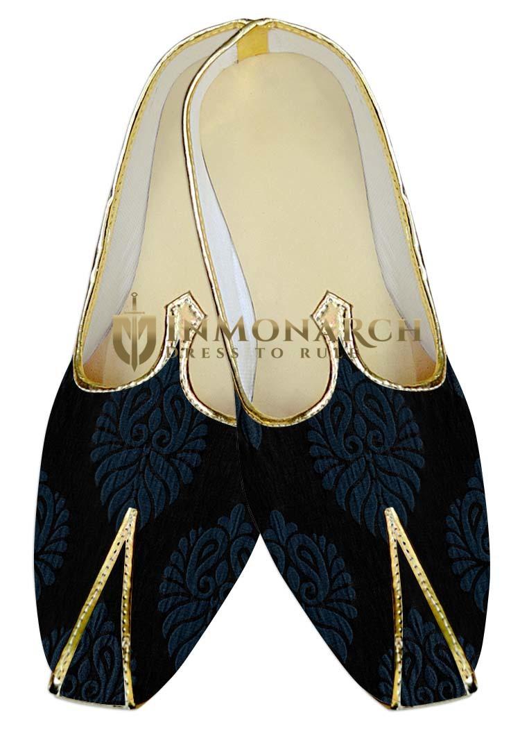 Mens Indian BridalShoes Black Wedding Shoes Steel Blue Flower