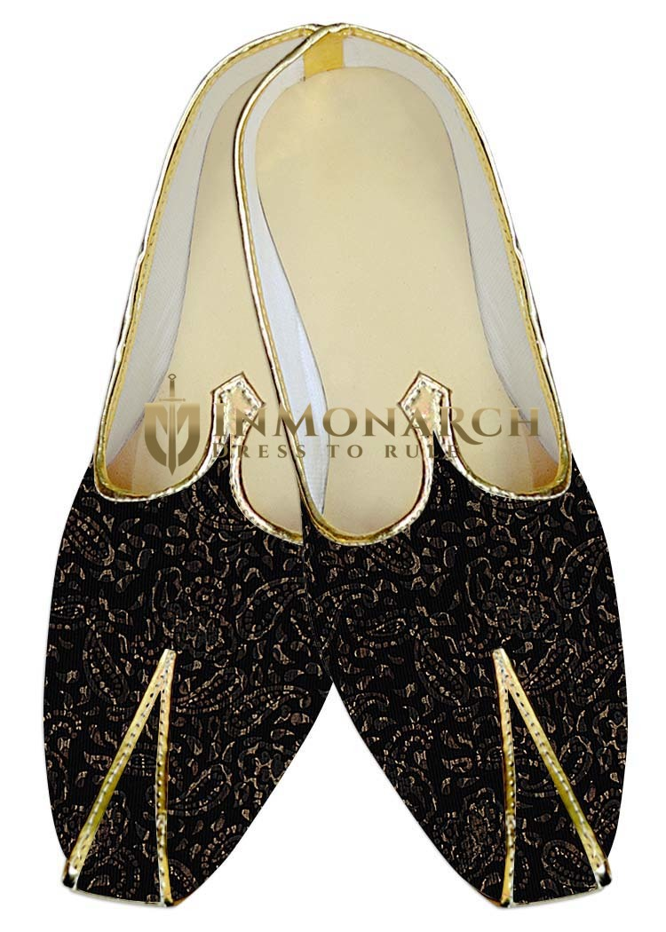 TraditionalShoes For Men Black Printed Indian Wedding Shoes