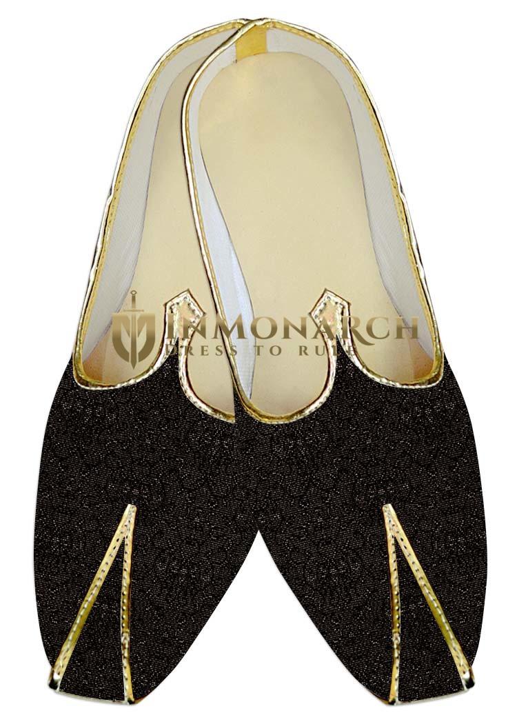 Mens Juti Black Wedding Shoes Self Design Sherwani Shoes