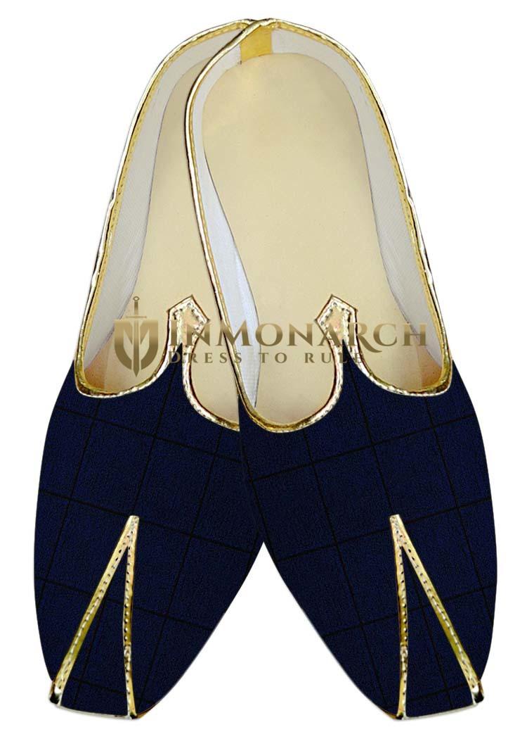 Indian MensShoes Navy Blue Checks Wedding Juti Shoes