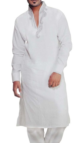 Mens White Linen Kurta Pyjama for Party Wear