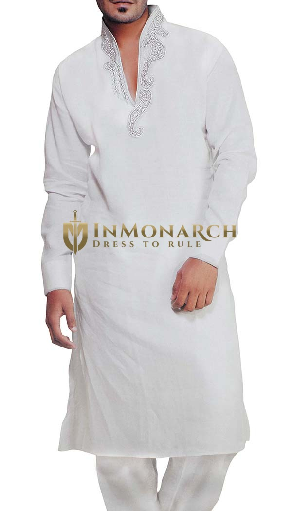 Mens White Sherwani Linen Kurta Pyjama for Party Wear Indian Clothes
