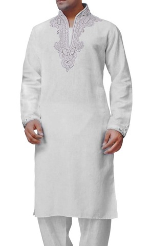 Mens White Linen  Kurta Pyjama Heavy Embroidered
