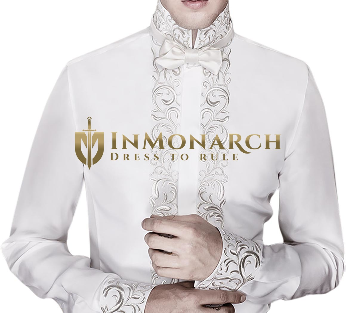 Mens White Polyester Embroidered Shirt High Neck