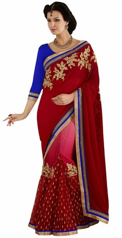 Unique Red And Pink Faux Georgette And Net Saree