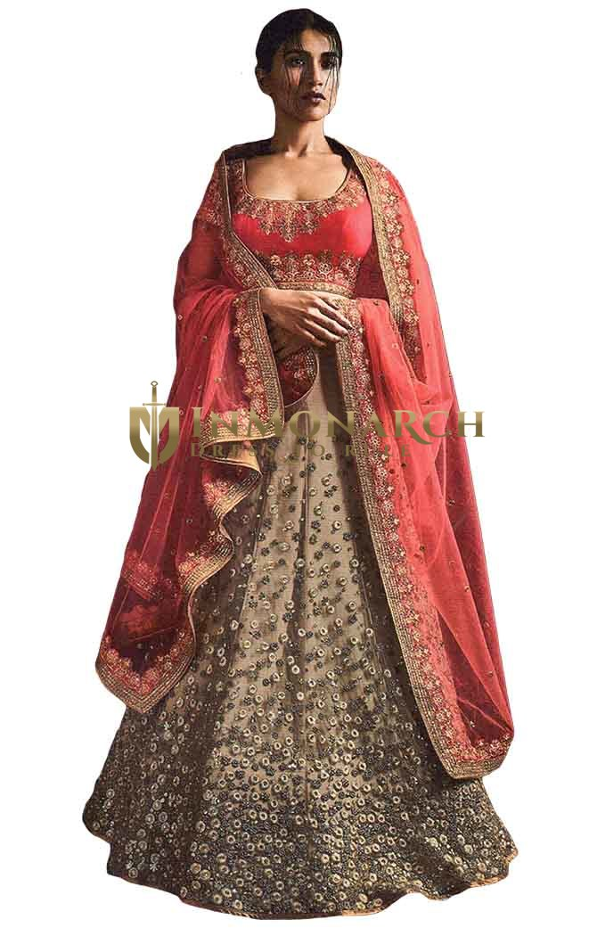 Beige and Pink Net Embroidered Lehenga Saree