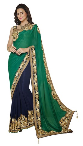Unique Dark Green And Navy Blue Half N Half Saree