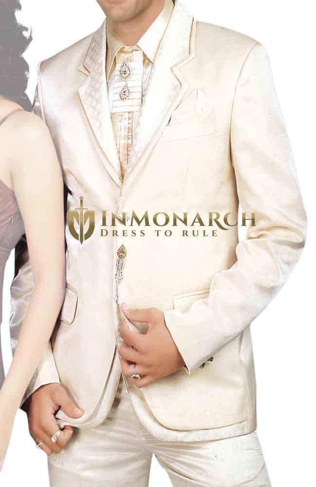 Mens Cream 7 Pc Tuxedo Suit Formal Wear