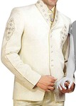 Mens Ivory 5 Pc Tuxedo Suit Indian Wedding Designer