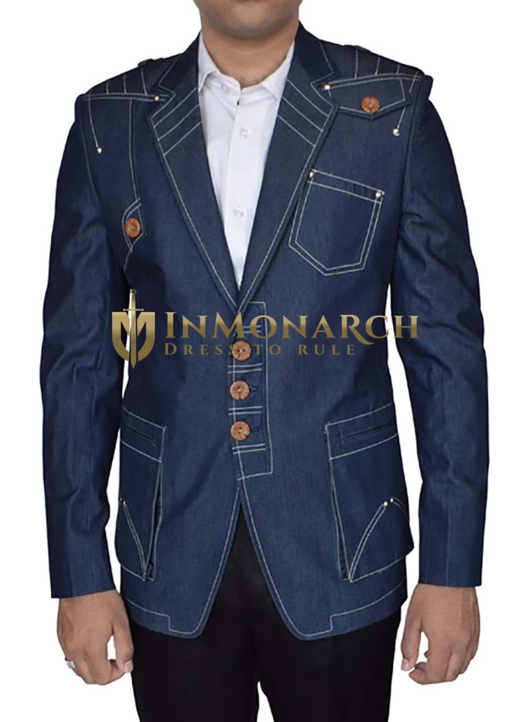 Mens Denim Blue Cotton 3 Pc Tuxedo Embroidered Classic Fit