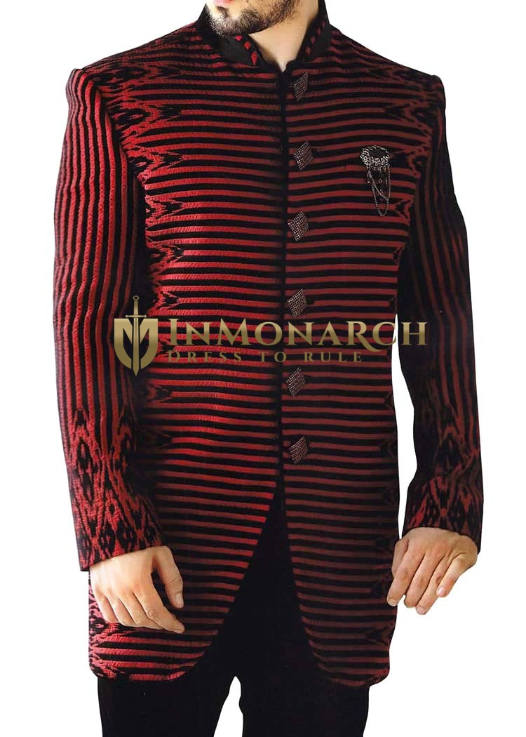 Indian Sherwani for Men Maroon and Black Sherwani kurta Indo Western Suit