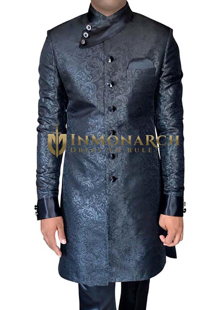 Mens Black Wedding Sherwani Indo Western Anagrakha Style