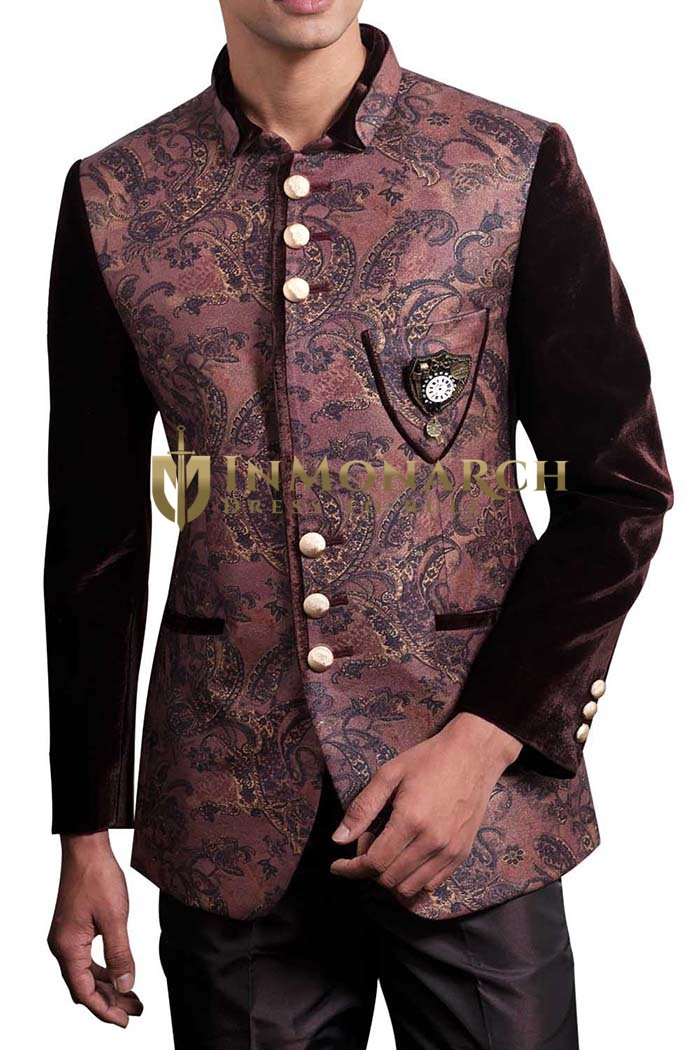 Mens Brown 3 Pc Jodhpuri Suit Formal Occasion