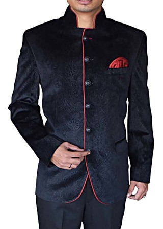 Mens Navy blue Velvet Nehru Jacket Designer