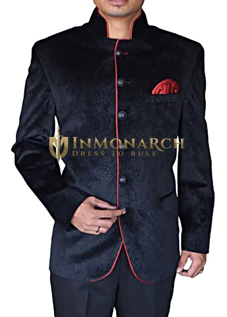 Black Mens Designer Velvet Nehru Jacket for Groom