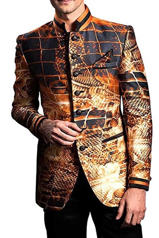 Mens Copper 3 Pc Printed Tuxedo Suit Wedding look