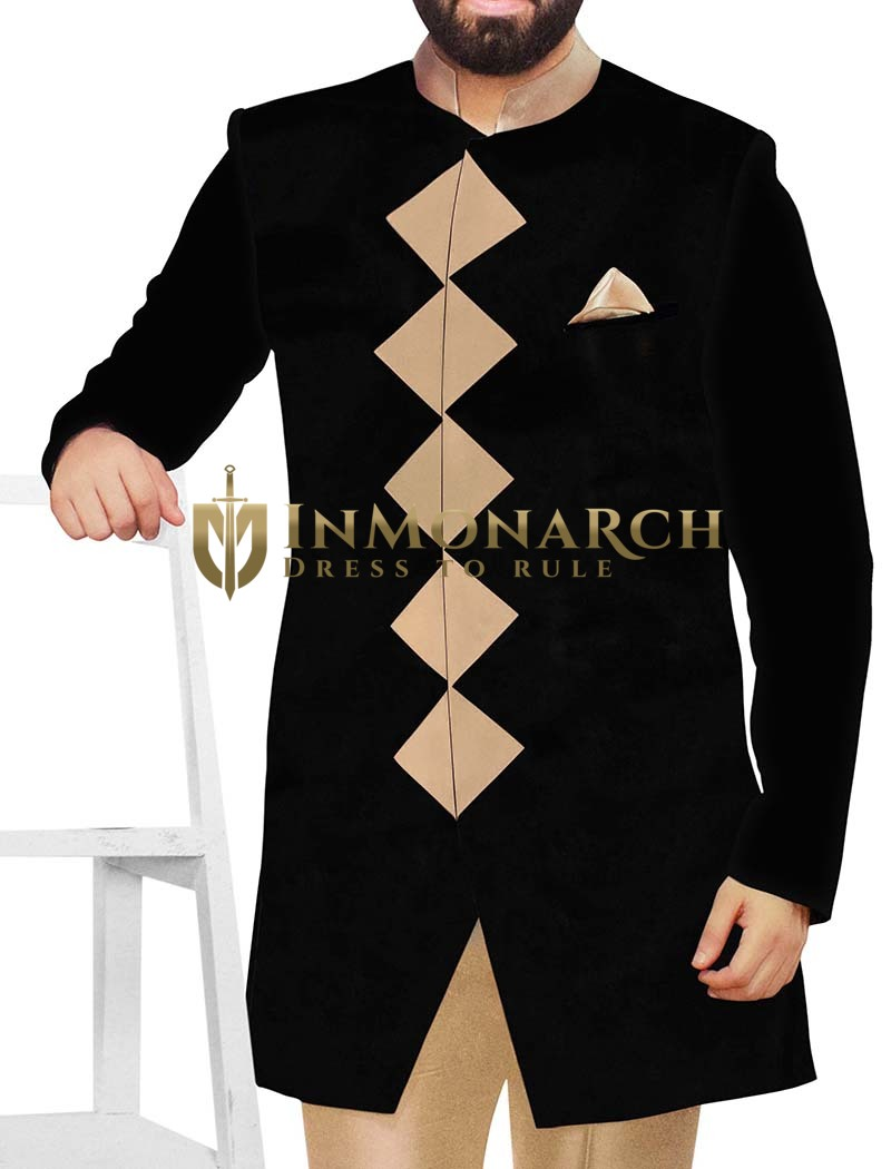 Mens Sherwani kurta Black Indowestern Designer Wedding Sherwani