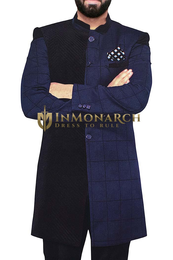 Indian Sherwani for Men Navy Blue and Black Indowestern Sherwani kurta