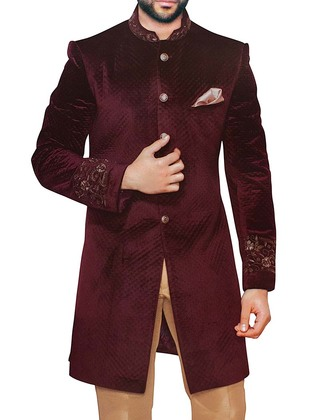Sherwani for Men Wedding Wine Velvet Indowestern Embroidered Sherwani
