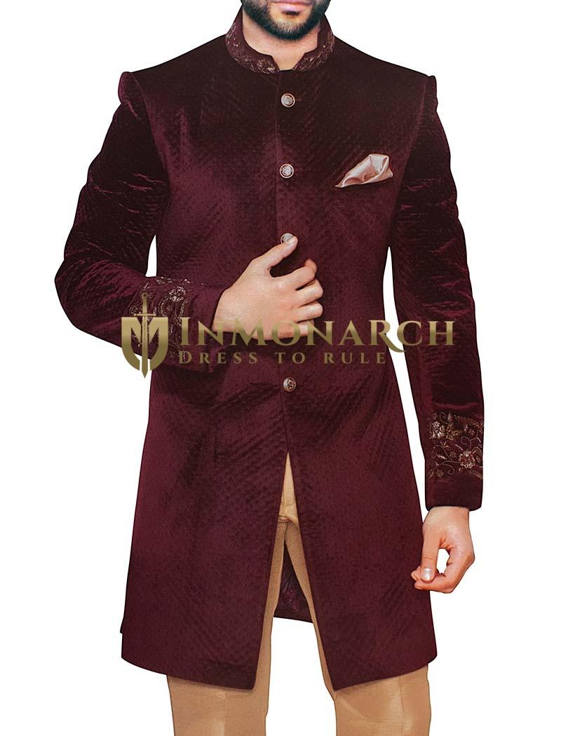 Sherwani for Men Wedding Wine Velvet Indowestern Embroidered Sherwani
