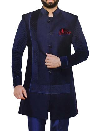 Indian Wedding for Men Navy Blue Indowestern Sherwani Designer Work